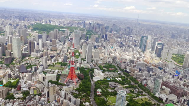 Tokyo Tower and Tokyo Sky Tree Aerial from Helicopter