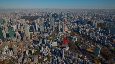 tokyo tower and tokyo sky tree aerial tokyo,japan - tokyo japan stock videos & royalty-free footage