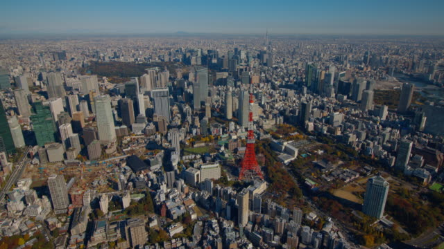 tokyo tower and tokyo sky tree aerial tokyo,japan - panoramic stock videos & royalty-free footage