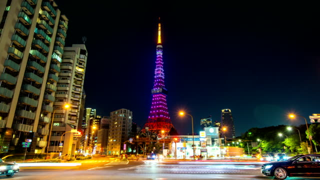 tokyo tower and traffic, diamond veil light of tokyo tower, time lapse video - roppongi stock videos and b-roll footage