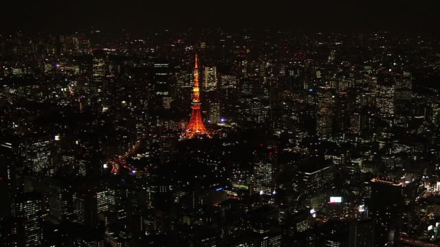 aerial, tokyo tower at night, japan - tokyo japan stock videos and b-roll footage