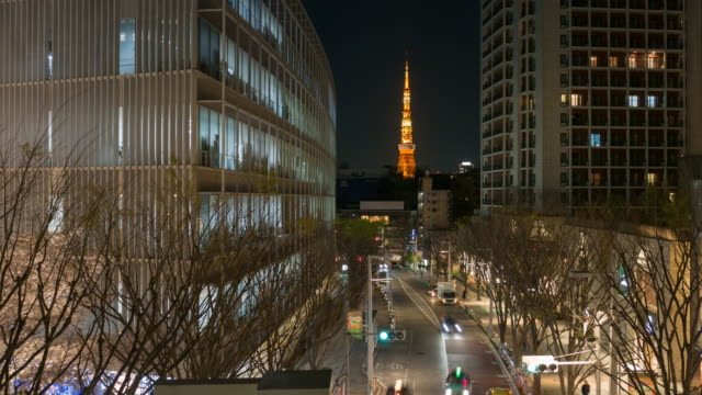 tokyo tower at night - roppongi hills stock videos and b-roll footage