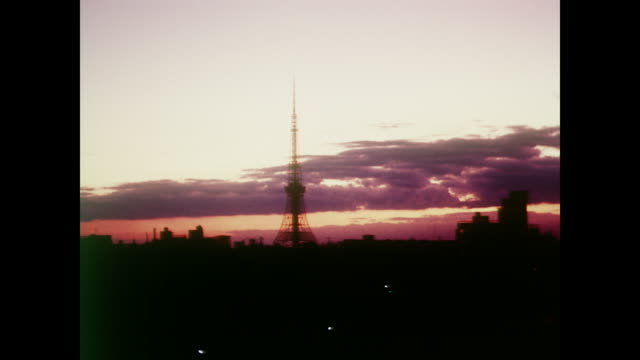 stockvideo's en b-roll-footage met 1964 tokyo tower at sunrise - 1964