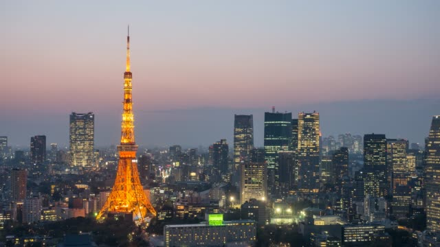 tokyo tower day to night time lapse - roppongi stock videos and b-roll footage