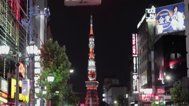 slo mo ws td tokyo tower illuminated at night / tokyo, japan - roppongi stock videos and b-roll footage