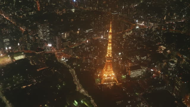 Tokyo Tower Light Up Aerial