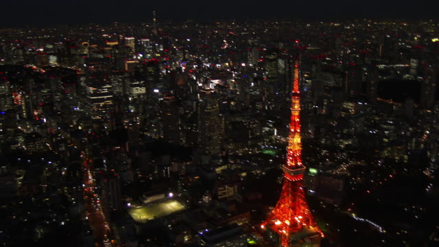 Tokyo Tower light up Aerial view from helicopter