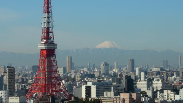 tokyo tower & mt fuji - horizon over land stock videos & royalty-free footage