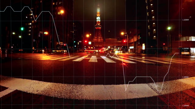 Tokyo Tower night view and charts and graphs