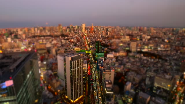 tokyo tower skyline at dusk / tilt-shift - selective focus stock videos & royalty-free footage