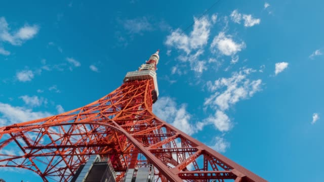 tokyo tower time-lapse blue sky cloud moving,japan iconic landmark,4k quality - tokyo tower stock videos and b-roll footage