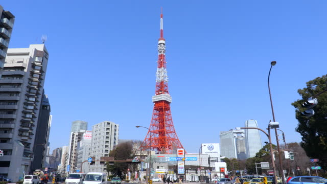 tokyo tower - tilt down stock videos & royalty-free footage