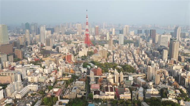 ws, tu tokyo tower with hamamatsucho, shiodome, and shinbashi skyscrapers against a blue sky / tokyo, japan - tilt up stock videos & royalty-free footage