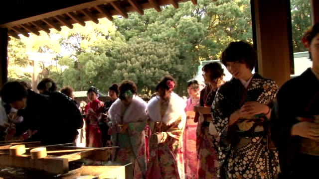 vídeos de stock, filmes e b-roll de tokyobased tourist company held a ceremony friday january 9 to celebrate the coming of the age for its young female bus conductors who turn 20 years... - trocador