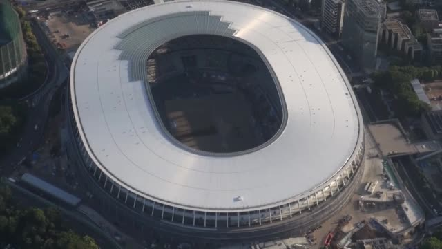 the japan sport council said friday the wooden roof that is the distinctive trademark of the 2020 tokyo olympic games' main venue has been completed - sport venue stock videos & royalty-free footage