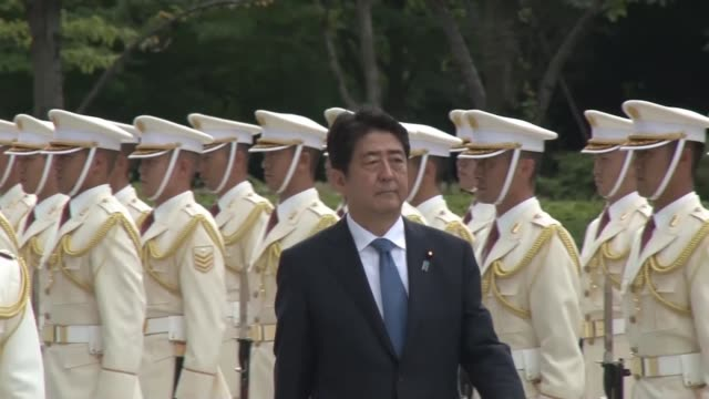 prime minister shinzo abe issued an instruction to the selfdefense forces' top brass on sept 12 to give their all to addressing an unprecedented... - japan self defense forces stock videos and b-roll footage