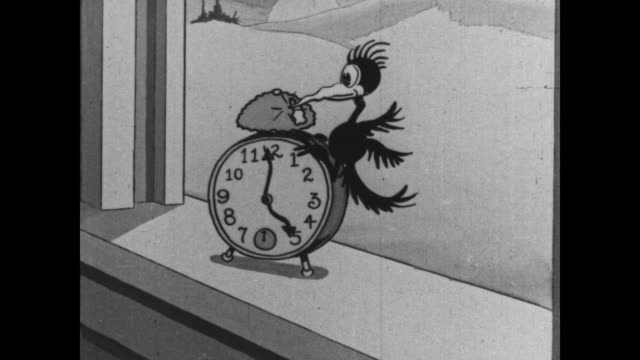 tom and jerry arise early - uhr stock-videos und b-roll-filmmaterial