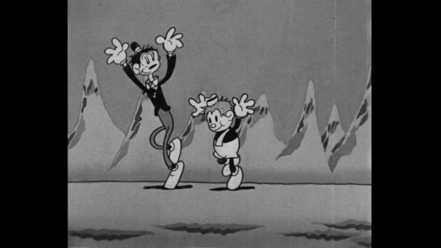 Tom and Jerry happily skip before shaking hands