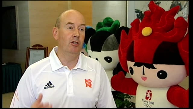 tom boswell interview sot reporter along with bill morris as looking at olympic mascots bill morris interview sot chinese police officer outside... - kathryn morris stock videos & royalty-free footage