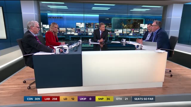 tom bradby colin rallings jane green george osborne and ed balls discussion sot/ cutaway studio graphics screen showing final results prediction - george osborne stock videos & royalty-free footage