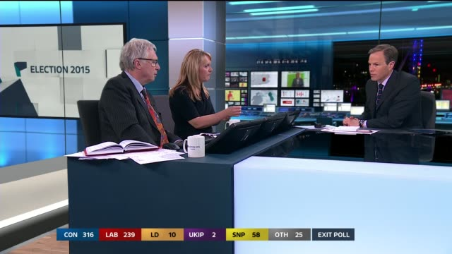 tom bradby discussing results with colin rallings and jane green studio julie etchingham update - tom green stock videos and b-roll footage