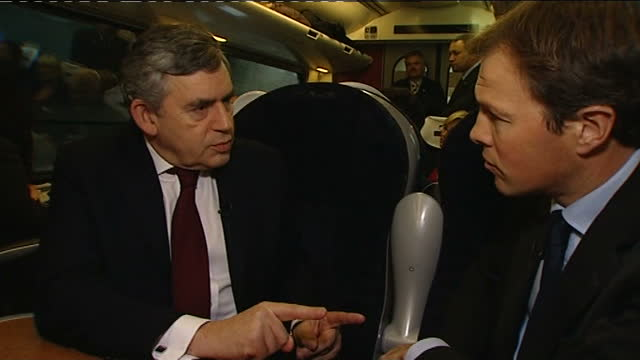 tom bradby interviews with gordon brown; bradby q: speculation of national govt? brown sot - i'm going round country listening to what people are... - turning on or off stock videos & royalty-free footage