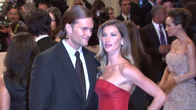 Tom Brady and Gisele Bundchen at the 'Alexander McQueen Savage Beauty' Costume Institute Gala At The Metropolitan Museum Of Art at New York NY