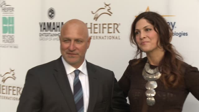 tom colicchio and lori silverbush heifer international hosts 3rd annual beyond hunger a place at the table gala at montage beverly hills on august 22... - montage beverly hills stock videos & royalty-free footage