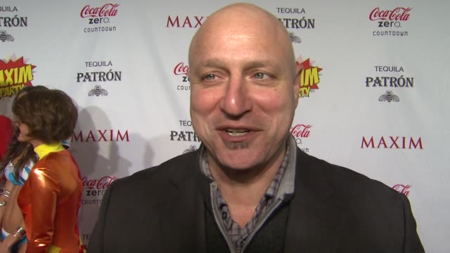 tom colicchio on what brings him out the the maxim super bowl party what super power he would most like to have who he thinks is the sexiest super... - paul mitchell stock videos and b-roll footage