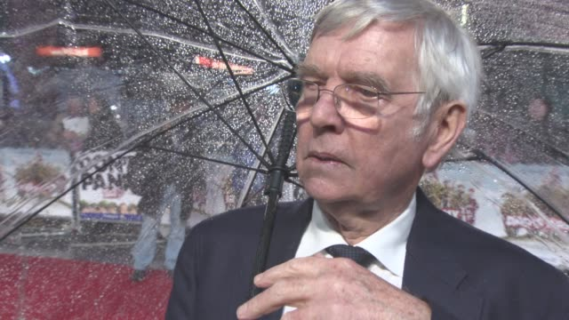interview 'tom courtenay on getting the role taking on the iconic character being cold on set being cold on the red carpet on set at dad's army' uk... - tom courtenay stock videos & royalty-free footage
