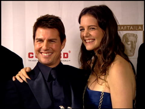 tom cruise and katie holmes at the 2005 bafta/la cunard britannia awards backstage at the beverly hilton in beverly hills california on november 10... - tom cruise stock videos & royalty-free footage