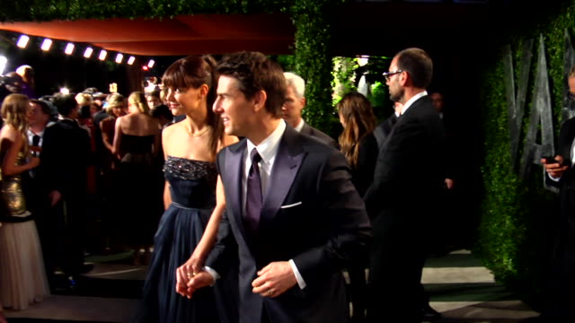 tom cruise and katie holmes at the 2012 vanity fair oscar party hosted by graydon carter inside party at west hollywood ca - tom cruise stock videos & royalty-free footage