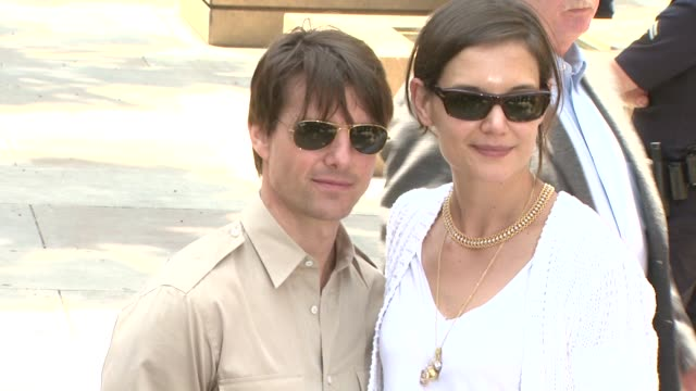 tom cruise and katie holmes at the cameron diaz honored with star on the hollywood walk of fame at hollywood ca - tom cruise stock videos & royalty-free footage