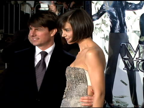 tom cruise and katie holmes at the 'mad money' premiere at the mann village theatre in westwood california on january 9 2008 - katie holmes stock videos and b-roll footage