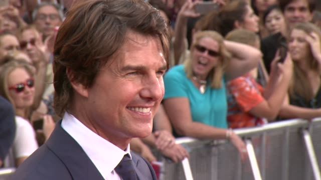 tom cruise at mission impossible rogue nation new york premiere at times square on july 27 2015 in new york city - tom cruise stock videos & royalty-free footage