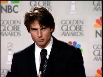 tom cruise at the 1997 golden globe awards at the beverly hilton in beverly hills, california on january 19, 1997. - golden globe awards stock videos & royalty-free footage