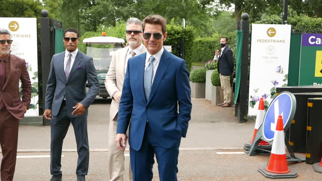 tom cruise attends wimbledon championships tennis tournament mens final day at all england lawn tennis and croquet club on july 11, 2021 in london,... - tom cruise video stock e b–roll
