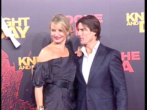 Tom Cruise Katie Holmes and Cameron Diaz attend the 'Knight and Day' world premiere at the Lope de Vega theatre Seville Spain