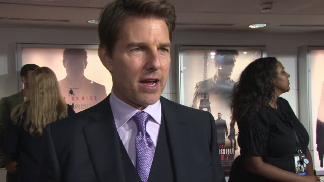 interview tom cruise on finding a story for each film loving the cast location breaking his foot at 'mission impossible fallout' uk premiere at bfi... - tom cruise stock videos & royalty-free footage