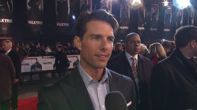 tom cruise on producing movies on how he treats his actors now he's their boss and on katie holmes at the uk valkyrie uk premiere at london - tom cruise stock videos & royalty-free footage