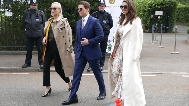 tom cruise, pom klementieff and hayley atwell attend wimbledon championships tennis tournament ladies final day at all england lawn tennis and... - tom cruise video stock e b–roll