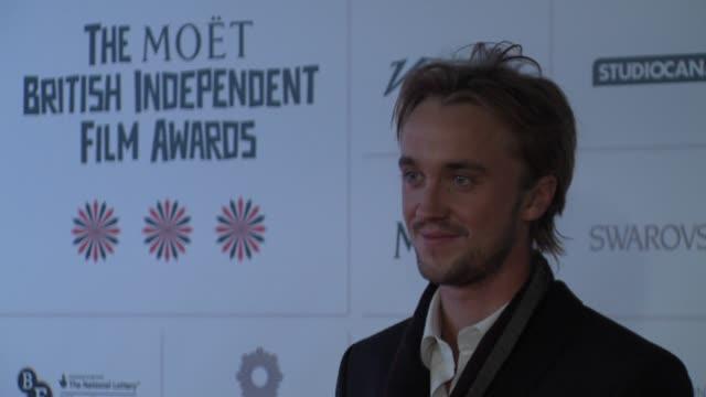 tom felton at british independent film awards arrivals at old billingsgate market on december 9 2012 in london england - tom felton stock videos & royalty-free footage