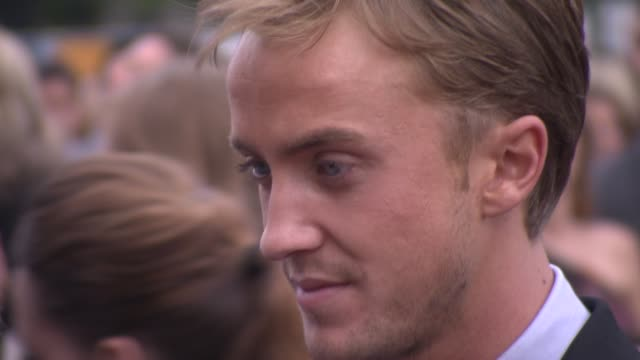 tom felton at the harry potter and the deathly hallows part two world premiere at london england - tom felton stock videos & royalty-free footage