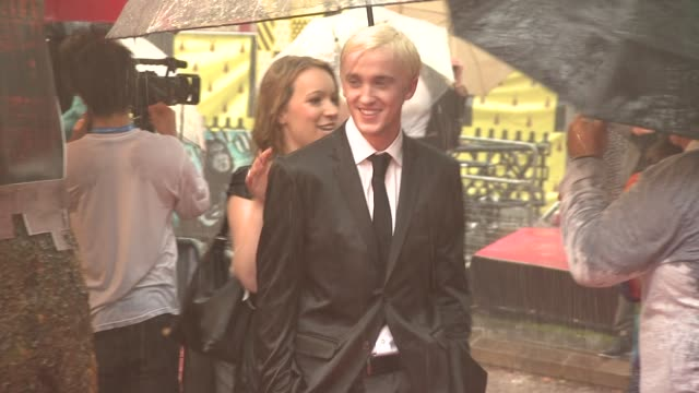 tom felton at the harry potter and the halfblood prince at london england - tom felton stock videos & royalty-free footage