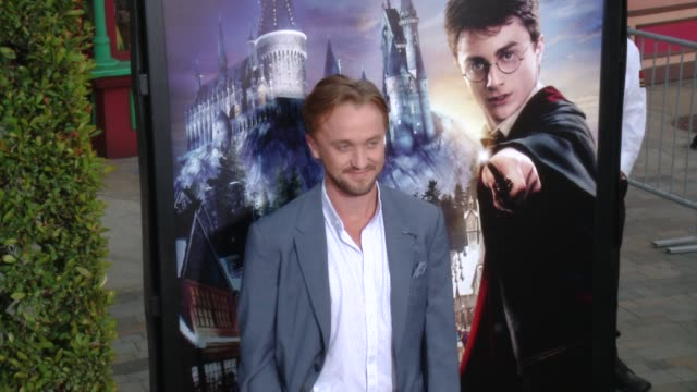 tom felton at the wizarding world of harry potter vip press event at universal studios hollywood on april 05 2016 in universal city california - tom felton stock videos & royalty-free footage