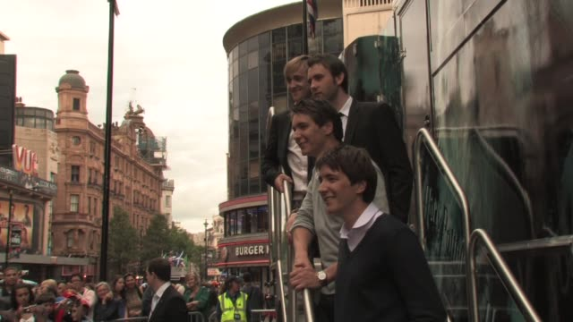 tom felton matthew lewis james and oliver phelps at the harry potter and the half blood prince experience launch at london england - oliver phelps stock videos & royalty-free footage