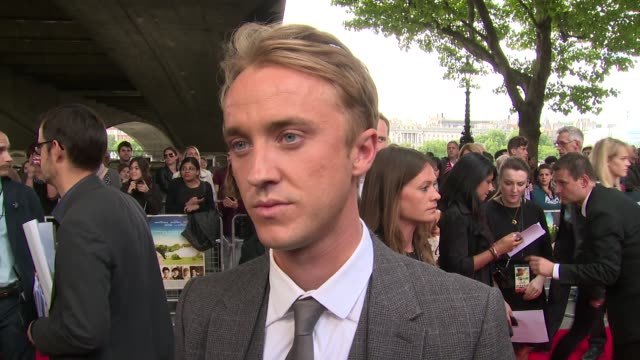 tom felton on fans the movie upcoming work and the director at the 'belle' premiere at bfi southbank on 5 june 2014 in london england - bfi southbank stock videos & royalty-free footage