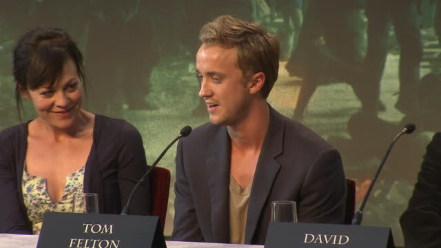 tom felton on his favorite line from the films at the harry potter the deathly hallows part 2 press conference at london england - tom felton stock videos & royalty-free footage
