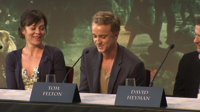 tom felton on his favorite prop from the film at the harry potter the deathly hallows part 2 press conference at london england - tom felton stock videos & royalty-free footage