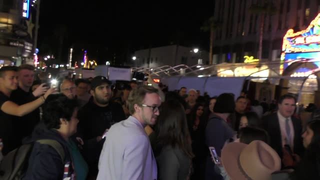 tom felton outside beauty and the beast premiere at el capitan theatre in hollywood in celebrity sightings in los angeles - tom felton stock videos & royalty-free footage